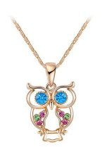 18K Rose Gold Plated Blue Eye Owl Necklace Women's Fashion Jewelry