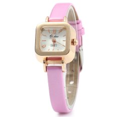 YUHAO Women Quartz Watch Slim Leather Band Square Dial (Pink)