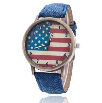 Yumite denim ancient bronze watch American flag retro man couple couple quartz watch student watch blue watch American flag pattern dial - intl