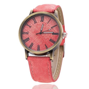 Yumite denim Romanian bronze watch simple and pure color watch male and female student table pink strap pink dial - intl