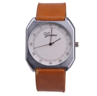 Yumite diamond watch neutral large watch Geneva watch men's belt watch female table square quartz watch brown watch white dial - intl