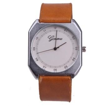 Yumite diamond watch neutral large watch Geneva watch men's belt watch female table square quartz watch brown watch white dial - intl