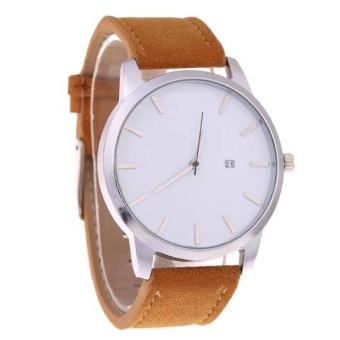 Yumite explosion models MV large watch men's watch MT high-end calendar fashion business quartz watch scrub belt brown watch white dial - intl