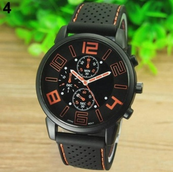 Yumite style sports car conYumitept fashion silicone watch men's big dial three cool sports watch sports watch round dial black strap Orange dial - intl