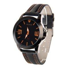 ZUNCLE 3973 Men's Fashionable Quartz PU Band Waterproof Wrist Watch –Black + Orange (Intl)