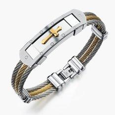 ZUNCLE Creative Korean Men's Casual Classic Cross Titanium Steel Bracelet (Golden)