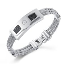 Zuncle Italian Fashion Classic Knit Diamond Titanium Steel Men's Business Gifts Bracelets (Silver)