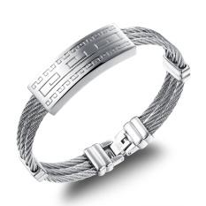 Zuncle Italian Fashion Classic Men's Titanium Steel Braid Pattern Engraved Gift Bracelets (Silver)