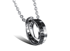 ZUNCLE Italy Imports Of Titanium Steel Exquisite Gift Women / Men Pendant Necklace (Black)