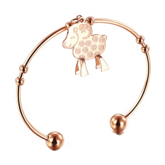 ZUNCLE Korea Stereo Coins Titanium Steel Rose Gold Plated Bracelet Opening Lamb Women (Rose Gold)