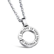 ZUNCLE Korea Women's Diamond Hollow Lettering C Shape Pendant Necklace (Silver)