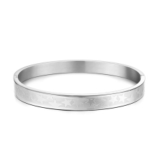 ZUNCLE Korean Fashion Classic Pentagram Titanium Steel MEN Gift Bangle Bracelet (Silver)