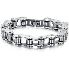 ZUNCLE Korean Fashion Simple Titanium Steel Bracelet Men Jewelry Wholesale Gift (Black + Silver)