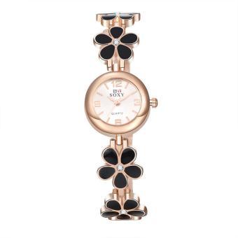 ZUNCLE Ladies Casual Flower Shape Quartz Wrist Watch (Black+Rose Gold)
