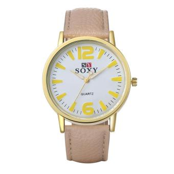 ZUNCLE Men Business Leather Quartz Wrist Watch (Beige)