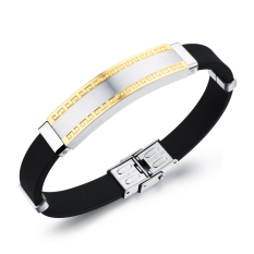 ZUNCLE Men's Wide Simple Great Wall Grain Titanium Steel Silicone Band Bracelets (Gold) (Intl)
