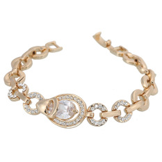 ZUNCLE Silver Platinum Plated Faux-Pearl Top-quality Crystal Rhinestone Chain Bracelet (Golden) (Intl)