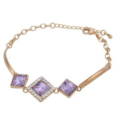 ZUNCLE Silver Platinum Plated Faux-Pearl Top-quality Crystal Rhinestone Chain Bracelet (Purple) (Intl)