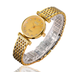 ZUNCLE Women Middle Golden Stainless Steel Band Ultra-thin Business Wrist Watch (Gold) (Intl)