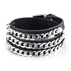 ZUNCLE Women Punk Hip-hop Style PU Wristband Bracelet (Silver + Black)