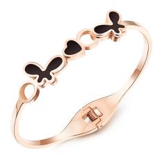 ZUNCLE Women's Diamond Butterfly Heart Hollow Bangles Bracelet (Rose Gold + Black)