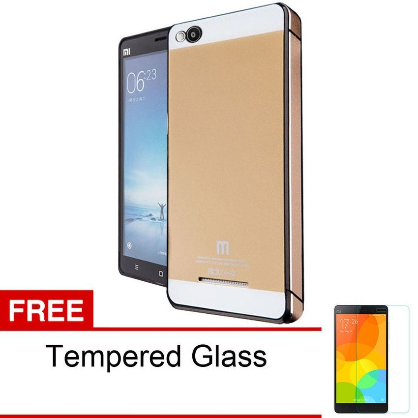 Accessories Hp Backcase Tempered untuk Xiaomi Redmi 3 - Gold + Gratis Tempered Glass