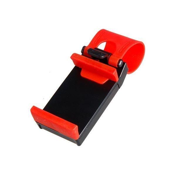 Adjustable Car Steering Wheel Phone Socket Holder Black/Red