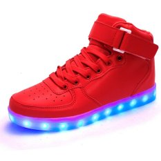 AFS Women's Men's Fashion High Top Sneakers USB LED Light Luminous Shoes - Red