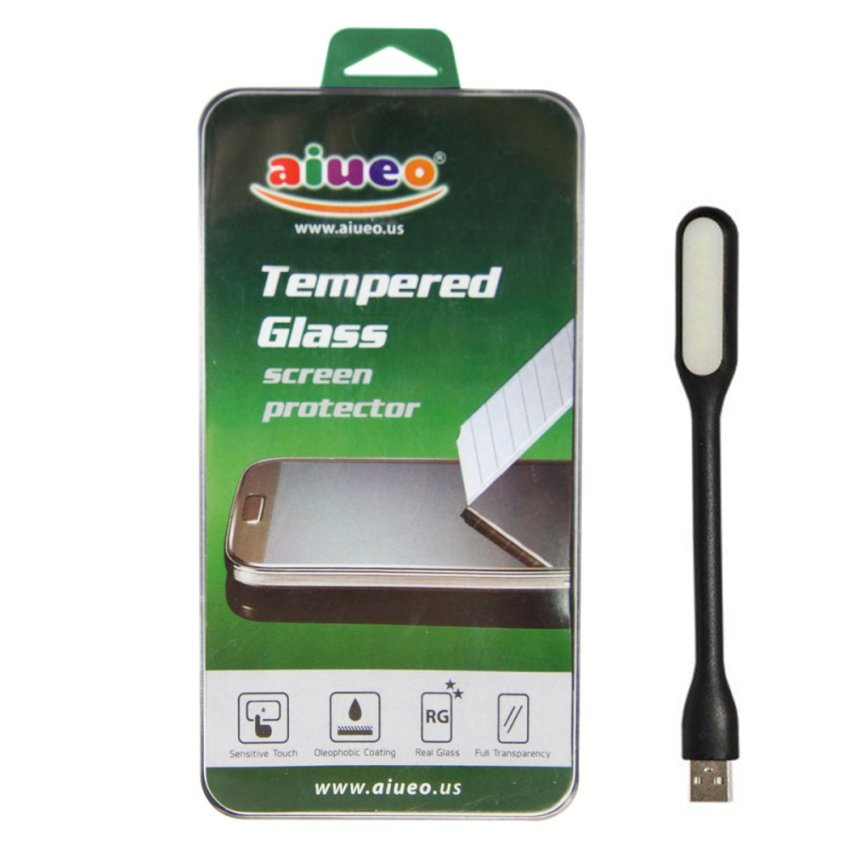 AIUEO - HTC One Max Tempered Glass Screen Protector Bundling Power Angel LED Portable Lamp