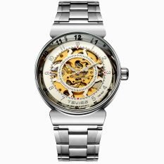 Akerfush TEVISE Genuine Hollow Automatic Mechanical Male Table Through The End Of The Trend Of Korean Fashion Waterproof Watch Male Form New (White)