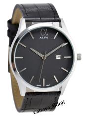 Alfa Original - AF55010M - Jam Tangan Pria - Kulit - Hitam Silver Inside Hitam