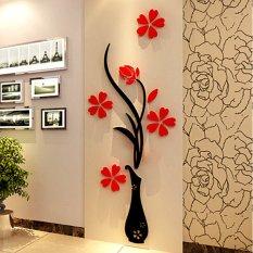 Allwin 3D Acrylic Vase & Plum Pattern Room TV Backdrop Entrance Home Wall Sticker