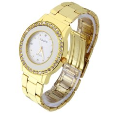 Allwin New Round Quartz Analog Women Golden Stainless Steel Band Wrist Watch White (Intl)