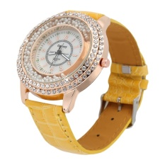 Allwin New Round Women PU Leather Band Simulate Diamond Pearl Quartz Wrist Watch Yellow- Intl