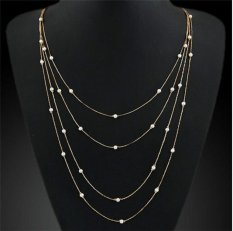 Amango Charm Chains Necklace Faux Pearl Gold (Intl)