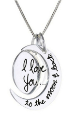 Amango Charm Necklace I Love You To The Moon And Back Silver (Intl)