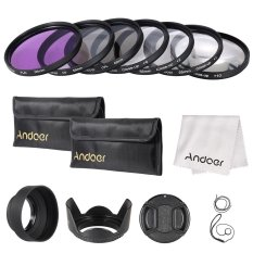 Andoer 55mm UV / CPL / FLD / Close-up (+ 1 + 2 + 4 + 10) Lens Filter Kit With Carry Pouch / Lens Cap / Lens Cap Holder / Tulip & Rubber Lens Hoods / Lens Cleaning Cloth - Intl