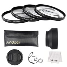 Andoer 58mm Close-up Macro Lens Filter Set (+ 1 + 2 + 4 + 10) With Lens Accessories (Lens Pouch / Collapsible Lens Hood / Lens Cap / Lens Cap Holder / Cleaning Cloth) - Intl