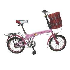 """Anroo 16222 Sepeda Lipat 16"""" - Merah Muda"""
