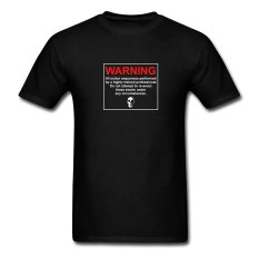 AOSEN FASHION Creative Men's Stunt Disclaimer T-Shirts Black