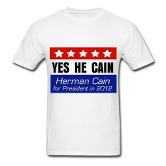 AOSEN FASHION Creative Men's Yes He Cain T-Shirts White
