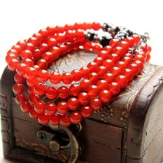 Aotian Natural Red Agate Beads Crystal Bracelet Lucky Transport More Than 108 Men And Women Ring Free Shipping Crystal Jewelry - White + Red + Horn Section (Intl)