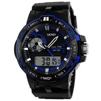 "AOXINDA Men Korean Style Dual Time Waterproof Sport Bussiness Watch A€"" Blue"