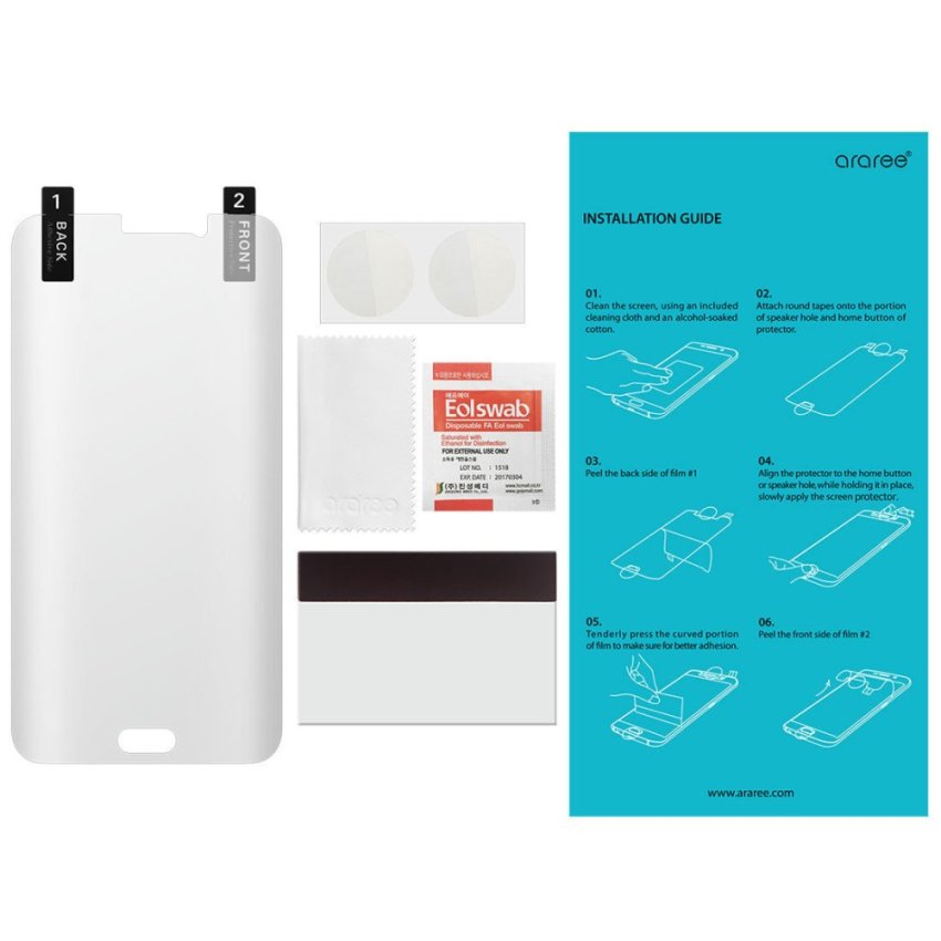 Araree PURE Ultra Clear HD Full Coverage Screen Protector for Galaxy S6 Edge Plus (Intl)
