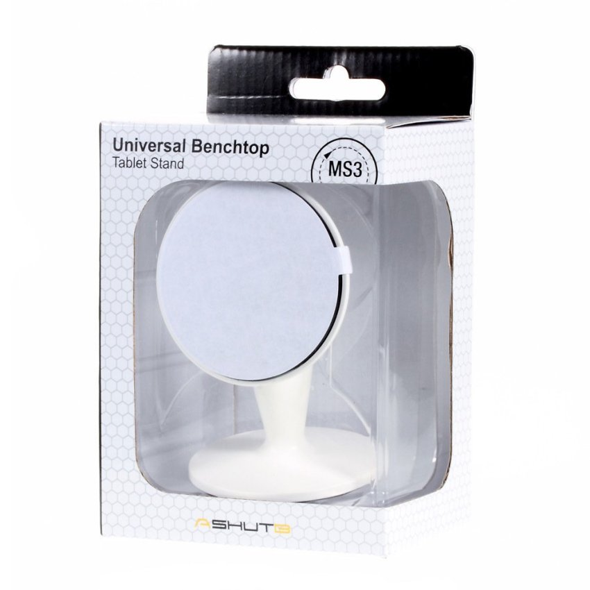 ASHUTB MS3 360 Degree Rotary Phone Mount Stand with Nano Silicone Stick Plate - White (Intl)