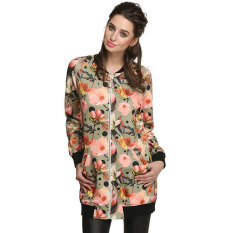 Astar Cool Fashion Women Floral Spring Autumn Long Jacket (Black) (Intl)