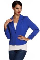 Astar Meaneor Ladies Women Lapel Neck Long Sleeve Draped Decor One Button Slim Casual Office Coat Blazer (Dark Blue) (Intl)