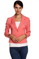 Astar Meaneor Ladies Women Lapel Neck Long Sleeve Draped Decor One Button Slim Casual Office Coat Blazer (Watermelon Red) (Intl)
