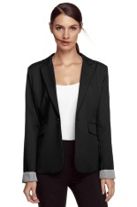 ASTAR Meaneor Stylish Ladies Women Casual Formal Office Solid Suit One Button Blazer Roll-up Stripe Cuffs Tailoring Coat (Black) (Intl)