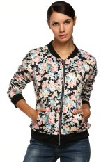 Astar Women Casual Floral Zipper Closure Jacket (Black) (Intl)
